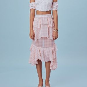 For love and lemons Dorothy ruffled midi skirt S